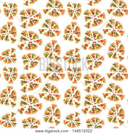 Vector texture of pattern with margherita pizza. Slices in a flat style. Seamless background. Cartoon style