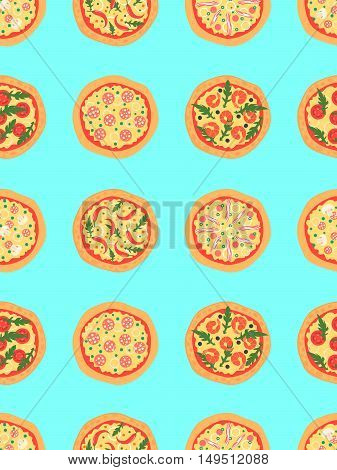 Seamless pattern with different pizza including margherita pepperoni shrimp onion chili pepper bacon tomatoes. Vector background. Cartoon stylized