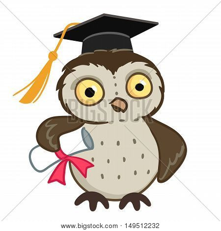 Vector hand drawn cartoon character mascot illustration of a cute owl wearing mortarboard graduation cap holding a diploma tied with red ribbon. Education and learning design element.