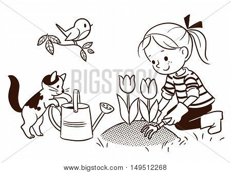 Vector black and white cartoon line drawing of a cute little girl gardening in the springtime with flower bed of tulips cat watering can and robin bird on a branch. Design element for print and web