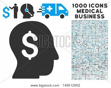 Businessman icon with 1000 medical commerce gray and blue glyph design elements. Design style is flat bicolor symbols white background.