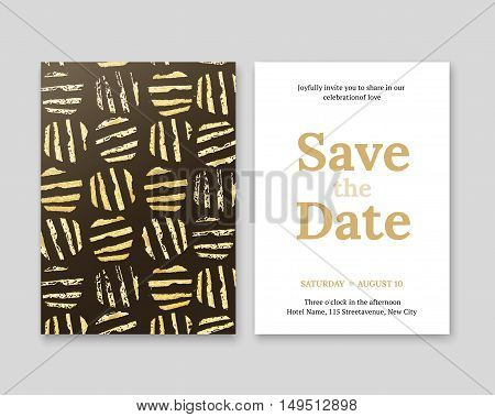 Invitation with gold ethnic pattern. Luxury invitation in gold. Gold pattern on a black background. Title Save the date.
