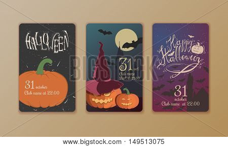Set of vector posters Halloween. Card with pumpkin and the cut-bats. Illustrations on the theme of the festival, invitations. It can be used for an invitation to a party.