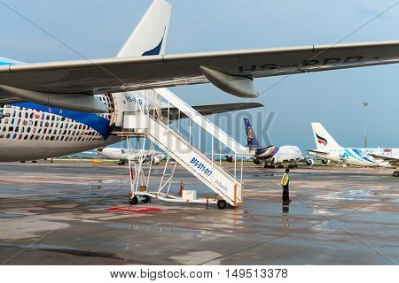 Bangkok Airways And Thai Airways Airlines Airplanes In Bangkok Airport.