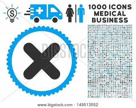 Cancel icon with 1000 medical commercial gray and blue glyph design elements. Collection style is flat bicolor symbols white background.