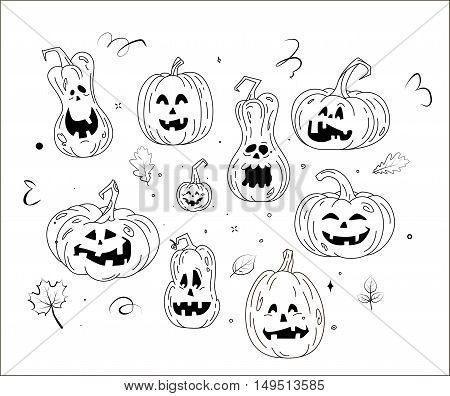 The template for the painting. Hand drawn decorative elements in the vector. Black-and-white pattern. Set Halloween pumpkin character.