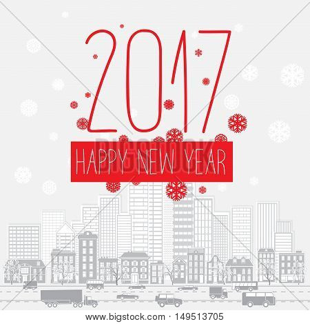 Modern style red gray color scheme new year greetings card on light-gray background with gray elements, houses, apartments and city landscape. Flat design element. Bright mood. 2017 new year greetings