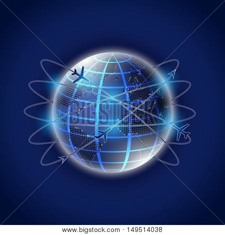 Illustration of abstract world globe with air travel routes