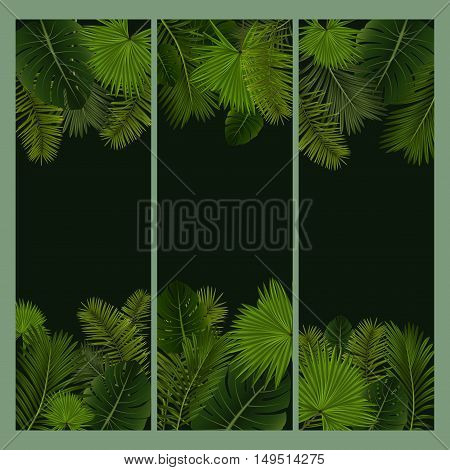 Illustration of banners with various palm leaves and green background