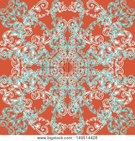 Illustration of seamless pattern with abstract ornament in blue white and orange colors