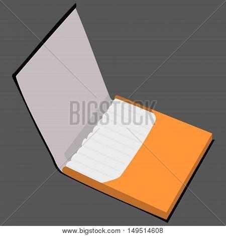 orange cigarette case full isolated vector illustration