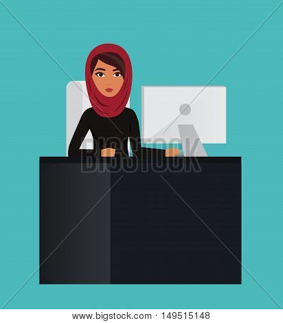 Arab business woman, office manager at computer desk. Muslim businesswoman wearing hijab. Vector character
