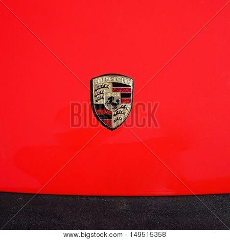 Ferrara Italy -September 24 2016.Detail of the Porsche Carrera 2 the famous German sports car