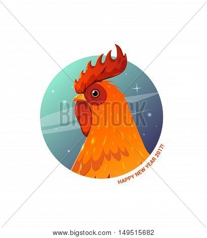 Vector Illustration rooster. Rooster symbol in 2017 on the Chinese calendar. Rooster head for printing calendars, T-shirts, postcards, posters.