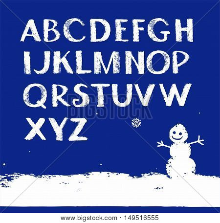 Font Snow, English alphabet, uppercase, vector. White letters on a dark blue background. The texture of the snow simulation.