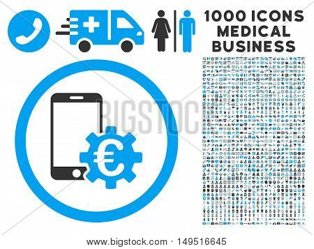 Configure Mobile Euro Bank icon with 1000 medical business gray and blue glyph pictographs. Clipart style is flat bicolor symbols white background.