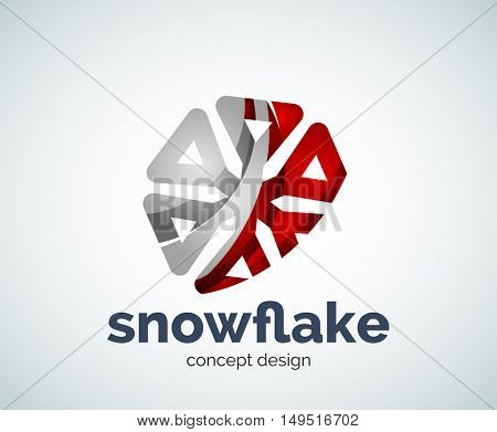 Christmas snowflake logo template, abstract business icon