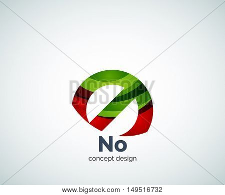 no concept, prohibition logo template, abstract business icon