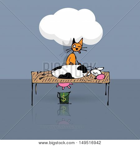 Tricky cat milking cow, vector sketch illustration, eps10