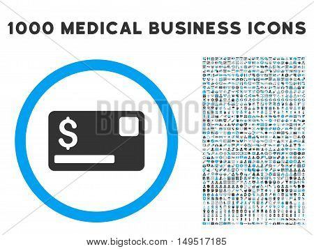 Credit Card icon with 1000 medical commerce gray and blue glyph pictograms. Clipart style is flat bicolor symbols white background.