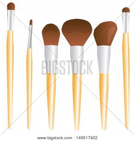 Cosmetic Brush Make-up Set Wooden Vector Illustration
