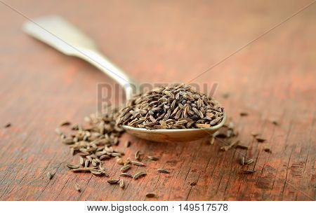 cumin in vintage spoon on a brown wooden background