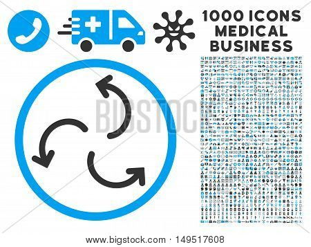 Cyclone Arrows icon with 1000 medical commerce gray and blue glyph pictographs. Set style is flat bicolor symbols white background.