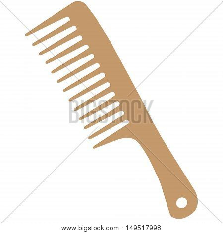barber hairdresser comb wooden isolated vector illustration