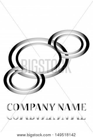 logo, black arc, company name - vector illustration