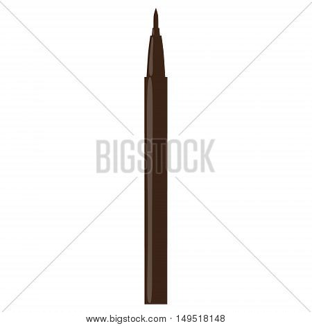 eyeliner pen make-up isolated brown pencil vector illustration