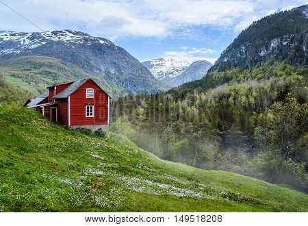 Red wooden cottage in the valley. Green grass white flowers. Stone snowy mountains. Stalheim Norway. Lightly mist.