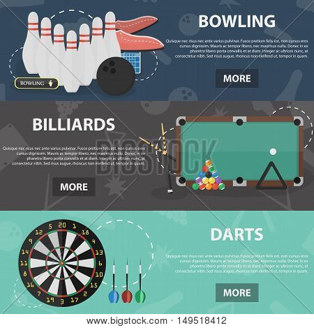 Set of vector flat horizontal banners of bowling, billiards and darts games for websites and apps. Concepts of sport games.