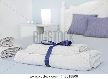 Closeup of towels with natural blur in background