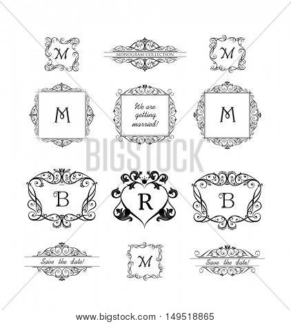 Collection of decorative frames for wedding invitation, birthday and greeting card. Vintage vignette for design template, logo, monogram, menu card, restaurant, cafe, hotel, jewelry store