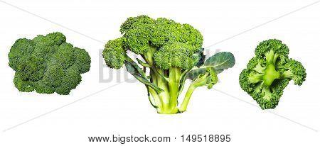 Set of ripe broccoli isolated on white background