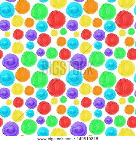 Rainbow circle seamless background. Artistic watercolor texture. Hand drawn multicolor pattern for your design.