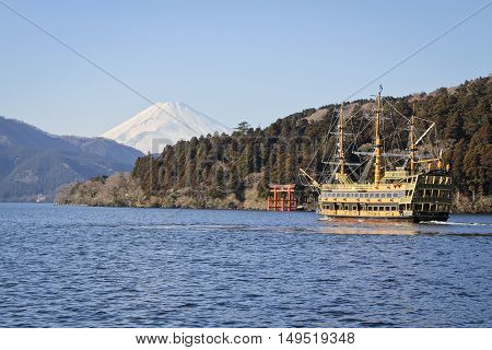 a pirate ship on Lake Hakone in autumn with view of mount Fuji