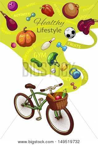 Healthy lifestyle concept with bicycle and wicker basket fresh fruits and vegetables sports outfit vector illustration