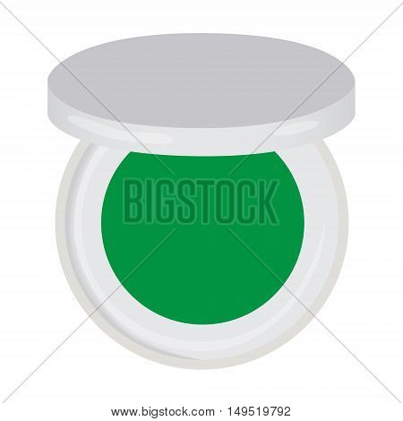 eye shadow green compact isolated vector illustration