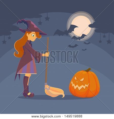 Witch with a broom and a big hat met pumpkin. Pumpkin with glowing eyes and mouth. In the night sky shines the moon clouds and stars bats. Halloween.
