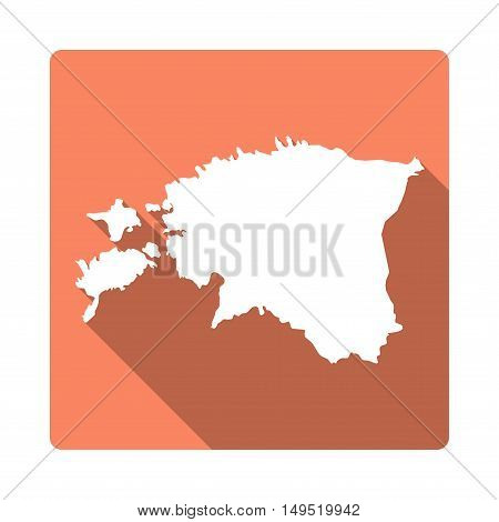 Vector Estonia Map Button. Long Shadow Style Estonia Map Square Icon Isolated On White Background. F