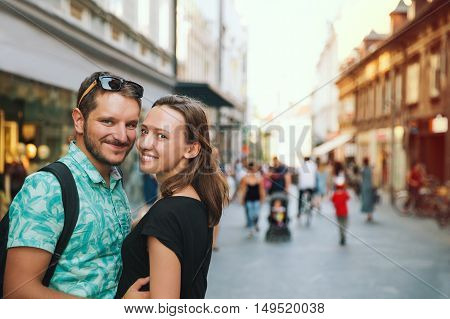 Couple Of Lovers In Old Town Center Of Ljubljana, Slovenia.
