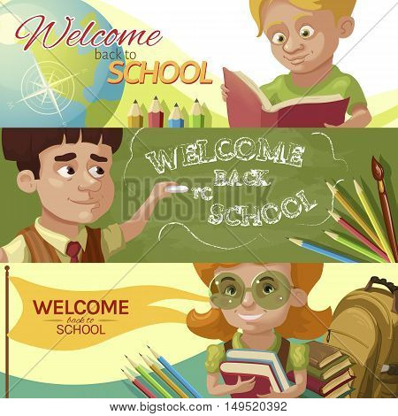 Back to school horizontal banners set with reading boy teacher near chalkboard smiling girl isolated vector illustration