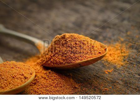 chili powder in a teaspoon on a dark wooden background