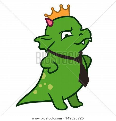 Vector hand drawn illustration of a cute fat green dragon mascot character standing with arms akimbo looking important wearing a golden crown and black neck tie. Happy boss's day illustration.