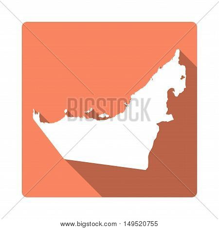 Vector United Arab Emirates Map Button. Long Shadow Style United Arab Emirates Map Square Icon Isola