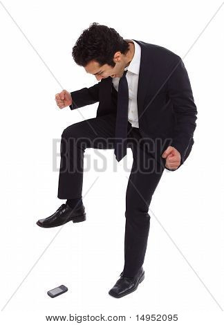 Businessman Stomping On His Phoneq