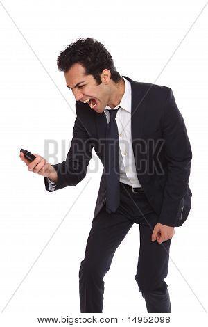 Yelling At His Phone