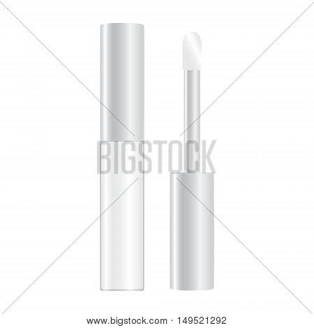 colourless shiny lip gloss opened vector illustration