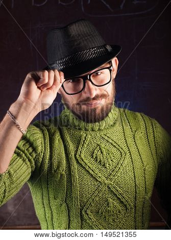 Bearded Hipster Man In The Hat